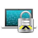 Ogólnospołeczni środki z kłódką na laptopie Fotografia Stock