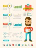 Ogólnospołeczni medialni infographic elementy Obrazy Stock