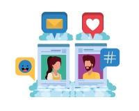 Ogólnospołeczni medialni profile z mową gulgoczą avatar carà ¡ cter royalty ilustracja