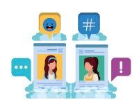 Ogólnospołeczni medialni profile z mową gulgoczą avatar carà ¡ cter ilustracja wektor