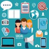 Ogólnospołeczni medialni społeczność charaktery royalty ilustracja