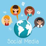 Ogólnospołeczni medialni społeczność charaktery ilustracji
