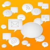 Ogólnospołeczni medialni symbole na mowa bąblach Fotografia Stock