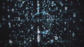 Ogólnospołeczni sieć związku chciwości ludzie Duży dane pojęcie, powódź ludzie łączy na internecie, 3d renderingu rnodes ilustracja wektor