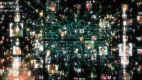 Ogólnospołeczni sieć związku chciwości ludzie Duży dane pojęcie, powódź unrecognizable ludzie łączy na internecie, 3d zbiory