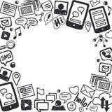 Ogólnospołeczny środków Doodles tło z przestrzenią dla teksta Fotografia Stock