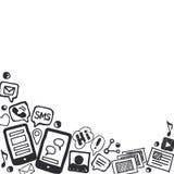 Ogólnospołeczny środków Doodles tło z przestrzenią dla teksta Obrazy Stock