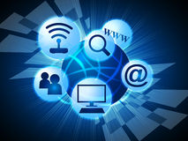 Ogólnospołeczny środków sposobów internet I Komunikuje ilustracji