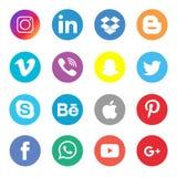 Ogólnospołeczny Medialny ikony kolekcji set ilustracja wektor