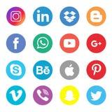 Ogólnospołeczny Medialny ikony kolekcji set ilustracji