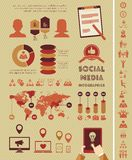 Ogólnospołeczny Medialny Infographic szablon. Fotografia Royalty Free