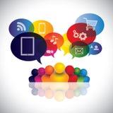 Ogólnospołeczny medialny infographic wektor z ludźmi i ne Obraz Stock