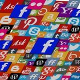 Ogólnospołeczny medialny logo chmury tło ilustracji