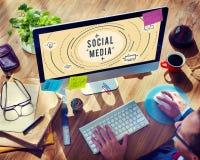 Ogólnospołeczny Medialny Online sieci technologii grafiki pojęcie Fotografia Royalty Free