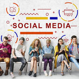 Ogólnospołeczny Medialny Online sieci technologii grafiki pojęcie Zdjęcia Stock