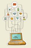 Ogólnospołeczny medialny sieć notatnik ilustracja wektor