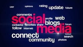 Ogólnospołeczny medialny tło teksta 4K red_blue royalty ilustracja