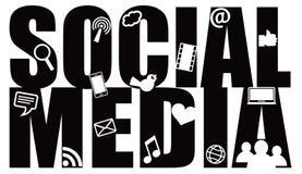 Ogólnospołeczny Medialny teksta kontur z symbolami Zdjęcia Stock