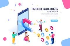 Ogólnospołeczny Medialny zwolennika trendu pojęcia mieszkanie Isometric ilustracji