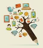 Ogólnospołeczny ołówkowy drzewo ilustracja wektor