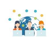 Ogólnospołeczny sieci i pracy zespołowej pojęcie ilustracja wektor