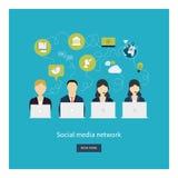 Ogólnospołeczny sieci i pracy zespołowej pojęcie dla sieci i ilustracja wektor