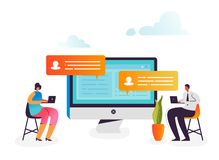 Ogólnospołeczny strategii marketingowej pojęcie Biznesowi charaktery Analizuje dane na komputerze Gadki rozmowa, Ogólnospołeczna  ilustracja wektor