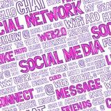 Ogólnospołecznych środków słów Bezszwowy wzór Fotografia Stock