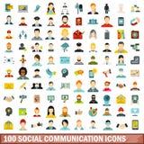 100 ogólnospołecznych komunikacyjnych ikon ustawiających, mieszkanie styl ilustracji