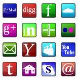 Ogólnospołeczne medialne glansowane ikony Fotografia Royalty Free