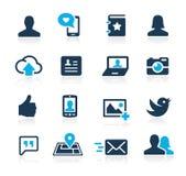 Ogólnospołeczne sieci ikon lazur serie Zdjęcie Royalty Free
