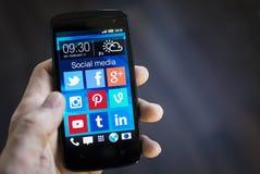 Ogólnospołeczni medialni apps na smartphone Zdjęcie Royalty Free