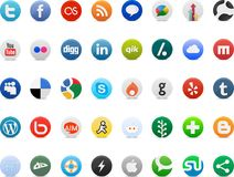 Ogólnospołeczni medialni networking znaka logowie Zdjęcia Stock