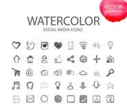 Ogólnospołeczni medialni symbole Akwareli ikona Obrazy Stock
