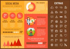 Ogólnospołeczny medialny infographic szablon, elementy, ikony Obraz Royalty Free