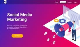 Ogólnospołeczny medialny marketingu 3d szablon ilustracja wektor