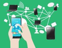 Ogólnospołeczny Medialny Smartphone pastylki notatnika internet i sieci ilustracji
