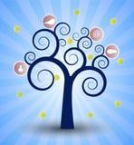 Ogólnospołeczny sieci drzewo Obrazy Royalty Free