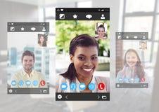 Ogólnospołeczny Wideo gadki App interfejs Obrazy Stock