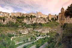 Ogólny widok Cuenca miasteczko w ranku. Los Angeles Mancha, Obraz Stock