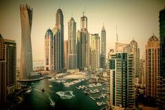 Ogólny widok Dubaj Marina przy zmierzchem od wierzchołka Zdjęcia Stock
