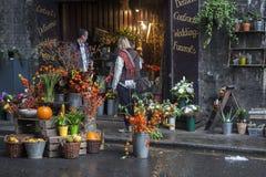 Ogólny widok kwiatu sklep w podgrodzie rynku, Londyn, UK Zdjęcie Stock