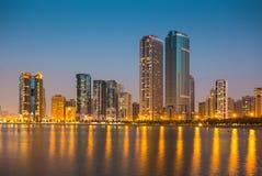 Ogólny widok nowożytni budynki w Sharjah Obrazy Royalty Free