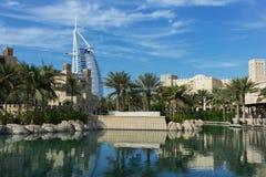 Ogólny widok światowy ` s pierwszy siedem gwiazd luksusowy hotel Burj Obraz Stock