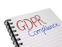 Ogólnych dane ochrony GDPR zgodności Przepisowy notatnik obrazy royalty free