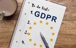 Ogólnych dane ochrony przepis GDPR fotografia stock