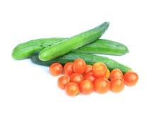 Ogórki i Czereśniowi pomidory Zdjęcie Stock