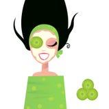 ogórkowa facial zieleni maski wellness kobieta Zdjęcia Royalty Free