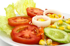 ogórkowej świeżej sałaty mieszanki sałatkowy pomidorowy warzywo Zdjęcia Stock