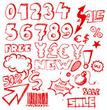 ogłoszenia doodle elementów eshop set Fotografia Stock